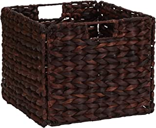Household Essentials Wicker Open Storage Bin for Shelves  Dark Brown
