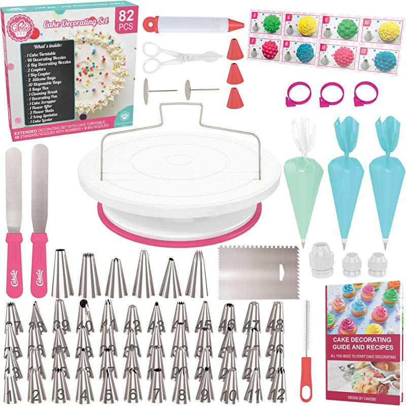 Cake Decorating Kit Cake Turntable Cakebe 82pcs Cake Decorating Supplies Cake Baking Kit Cake Baking Supplies For Teens Cake Decorating Set With Cake Decorating Turntable Cake Decorating Tools