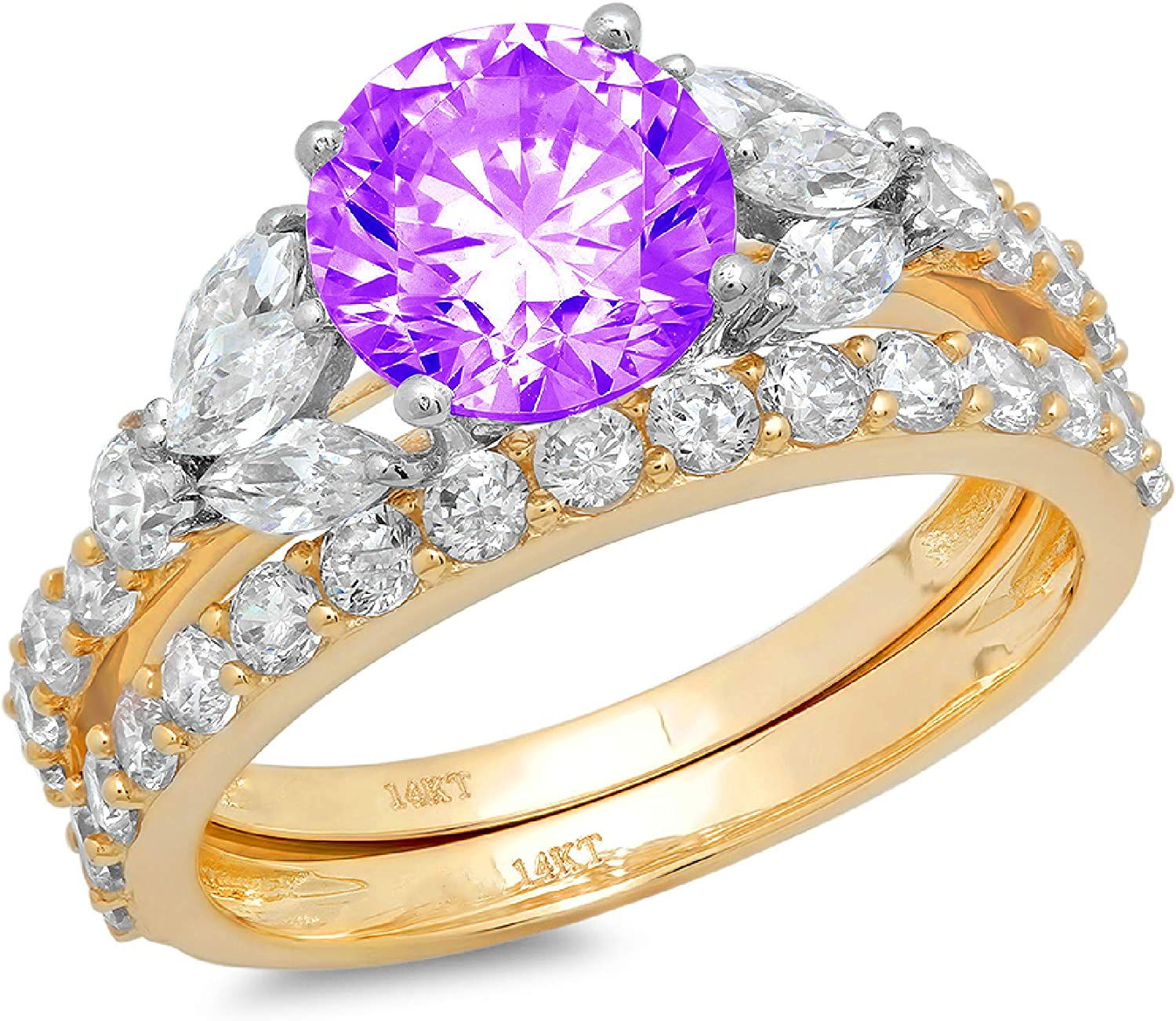 2.66ct Round Marquise Cut Solitaire 3 stone With Accent VVS1 Ideal Natural Purple Amethyst Engagement Promise Designer Anniversary Wedding Bridal Ring band set 14k 2 tone Gold