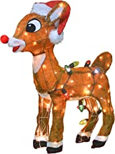 ProductWorks 60536 Rudolph with Santa Hat and Scarf 3D Christmas Décor, 120 Lights