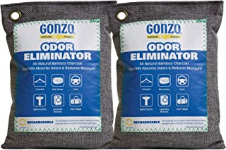 Gonzo Bamboo Charcoal (2 Medium Bags 250 Grams) Air Purifying Bags Odor Eliminator for Home Drawers Pets Gym Bag