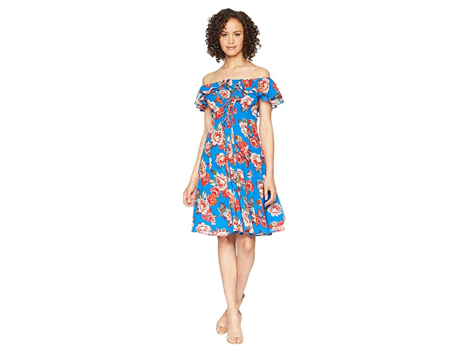 ASTR the Label Cassidy Dress (Blue Multi Floral) Women