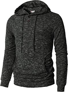 H2H Mens Casual Pullover Hoodie Henley Long Sleeve Lightweight Sweatshirts