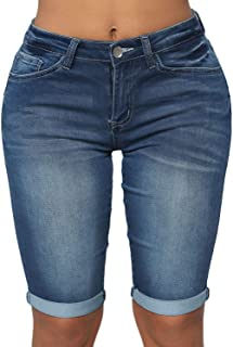Dokotoo Womens Fashion Denim Destroyed Stretchy Bermuda Shorts Jeans