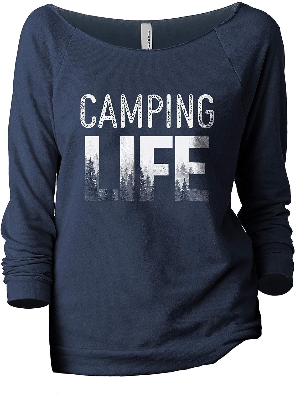 Camping Life Women's Fashion Slouchy 3/4 Sleeves Raglan Lightweight Sweatshirt