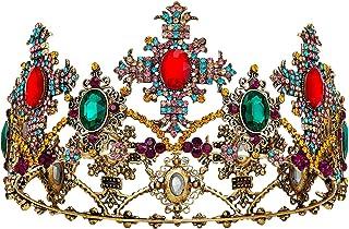 SWEETV Corona barroca con piedras preciosas para boda y tiaras para mujeres, accesorios para el pelo de fiesta de disfrace...