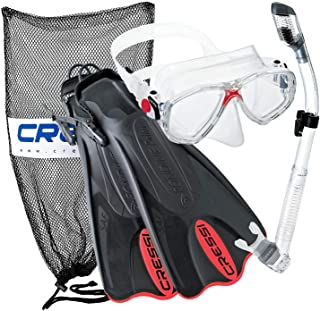 Cressi Made in Italy Palau Short Brisbane Mask Fin Snorkel Set