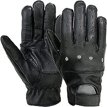 MRX Mens Driving Gloves Basic Outdoor Glove Soft Goat Leather Full Finger, Black
