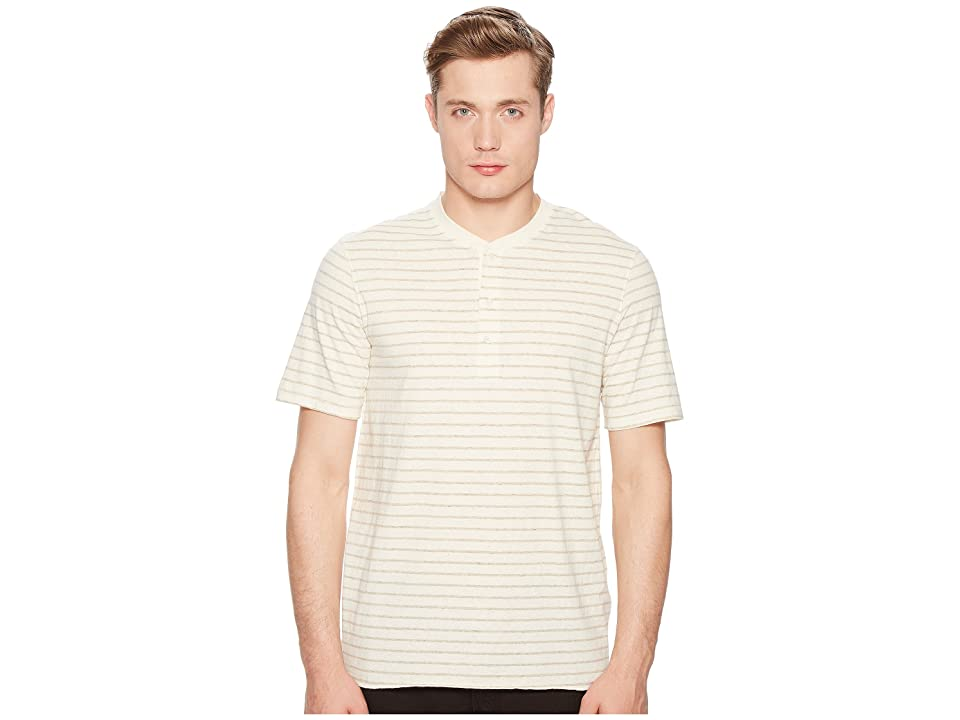 Image of Billy Reid Short Sleeve Striped Henley (Oatmeal) Men's Clothing