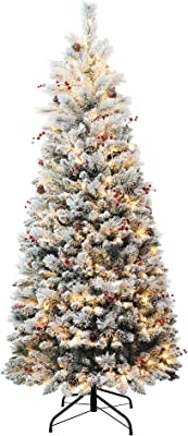 Haute Decor 6.5 Foot Pre-lit Newbury Flocked Easy Stow, Pop-Up, Pull-Up Artificial Fir Christmas Tree with 300 Warm White LED Lights and Included Storage Bag