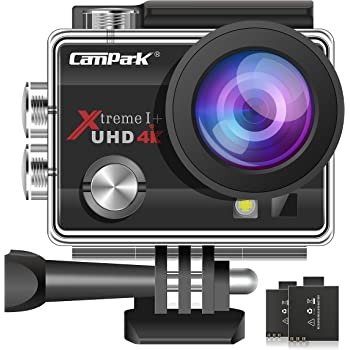 Campark ACT74 Action Camera 4K Ultra HD WiFi Underwater Waterproof Camera 16MP 170° Adjustable Wide Angle Lens with 2 Rechargeable Batteries and Multiple Accessories Kits