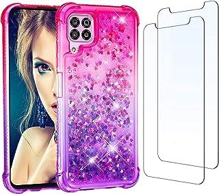 för Huawei P40 Lite fodral och [2-pack] skärmskydd härdat glas, glitter klar vätska glittrande kristall söt flicka fodral ...
