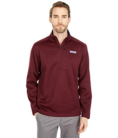 Vineyard Vines Mountain Sweater Fleece 1/4 Zip (Crimson) Men