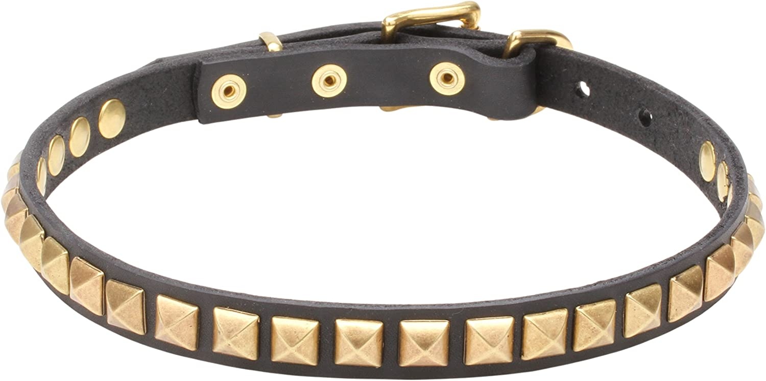 20 inch Narrow Black Leather Dog Collar with Brass Studs 'Necklacelike'  4 5 inch (20 mm) wide