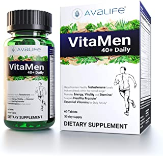 Avalife VitaMen40+ Daily - Multivitamin for Men 40+ Gluten Free, Vegan & Non-GMO - 60 Capsules