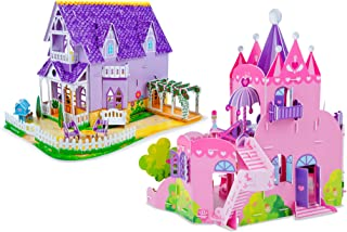 Melissa & Doug 3-D Puzzle Kits Set: Pretty Purple Dollhouse and Pink Palace