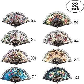 32 Pack Spanish Floral Folding Hand Fan Women Vintage Retro Pattern Fabric Fans (8 different patterns)