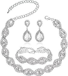 Choker Necklace for Women - Jewelry Sets for Women,Rhinestone Crystal Necklace Link Bracelet Teardrop Dangle Earrings for Women,Party Mother's Day Prom Wedding Fashion Jewelry Gift