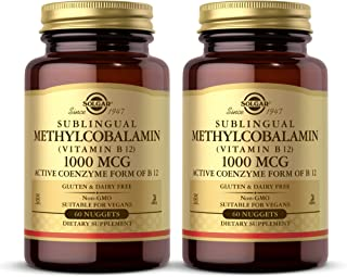 Solgar Methylcobalamin ( Vitamin B12 ) 1000 mcg , 60 Nuggets - Pack of 2 - Supports Energy Metabolism - Active Form of Vit...