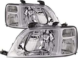 HEADLIGHTSDEPOT Chrome Housing Halogen Headlights Compatible with Honda CR-V 1997-2001 Includes Left Driver and Right Passenger Side Headlamps