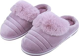 IRSOE Comfortable Winter Fur Slippers Winter Indoor/Outdoor Non-Slip Warm Home Plush Cotton Slippers Women & Girls (Purple)