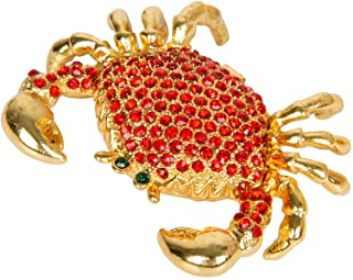QIFU-Hand Painted Enameled Crab Shape Decorative Hinged Jewelry Trinket Box Unique Gift..