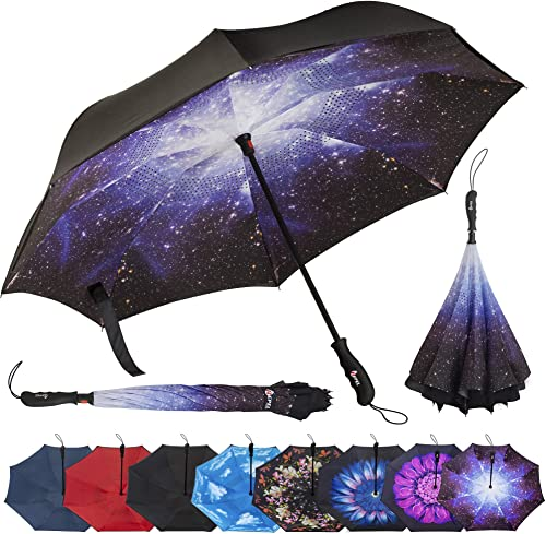 Double Layer Inverted Inverted Umbrella Is Light And Sturdy Pattern Little Rabbit Reverse Umbrella And Windproof Umbrella Edge Night Reflection