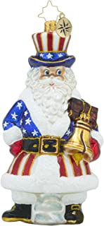 RADKO TIS OF THEE Santa Patriotic Americana Glass Ornament