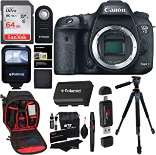 Canon EOS 7D Mark II Digital SLR Camera (Body) + 64GB Memory Card + 60 Inch Tripod + Spare Battery + Slave Flash + Professional DSLR Case + Accessory Kit