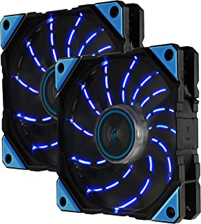 Enermax D.F.VEGAS 120mm Dust Free Rotation Technology Blue LED High Performance with PWM speed control Case Fan Twin Pack, UCDFV12P-BL-T