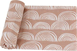 LifeTree Baby Swaddle Blankets - 70% Bamboo/30% Cotton Muslin Swaddle Blankets Unisex - Rainbow Print, Silky Soft, Lightwe...