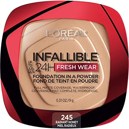 Amazon.com: L'Oreal Paris Infallible Fresh Wear Foundation in a Powder, Up  to 24H Wear, Radiant Honey, 0.31 oz.: Beauty