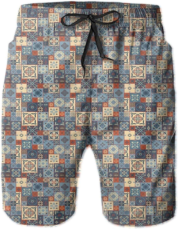 Grid Style Square Pattern Ornamental Arabesque Oriental Tunisian Mens Swim Trucks Shorts with Mesh Lining,M