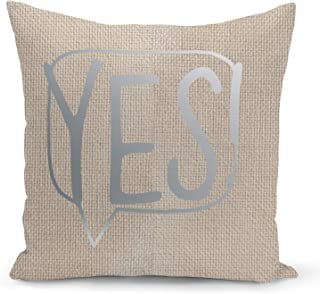 Speech bubble Yes Beige Linen Pillow with Metalic Silver Foil Print Typo Couch Pillows