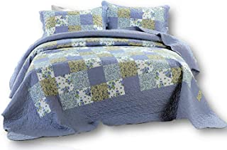Dada Bedding Patchwork Bedspread Set - Blueberry Floral Plaid Checkered Quilted Coverlet - King - 3-Pieces