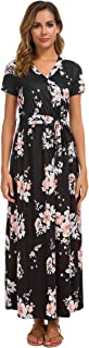 Women's Short Sleeve Floral Print Faux Wrap Long Maxi Dress with Belt