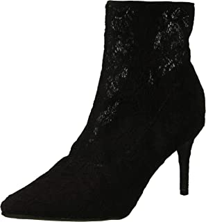 Rampage Women's Thaimara Stiletto Heel Pointed Toe Ankle Bootie Boot, Black Fabric lace, 9.5 M US