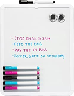 11 Inch x 14 Inch Dry Erase Whiteboard Bundle, Perfect for Hanging on The Refrigerator or Office Wall to Keep to Do Lists and Grocery Lists, Includes 6 Colored Magnetic Markers, 2 Magnets, White board