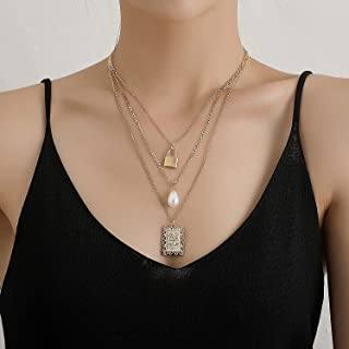 YERTTER Dainty Unique Punk Lock Pearl Rose Pendant Necklace Boho Jewelry Set Statement Chunky Necklace for Women Men