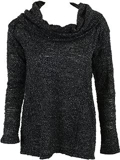 Sanctuary Womens Black Cowl Neck Lurex Boucle Long Sleeve Sweater XS