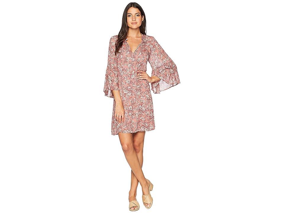 Lucky Brand Printed Bell Sleeve Dress (Pink Multi) Women
