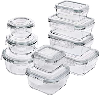 Utopia Kitchen [18-Pieces] Glass Food Storage Containers with Lids - Glass Meal Prep Containers with Transparent Lids - BPA Free - (9 Containers and 9 Lids) - Grey