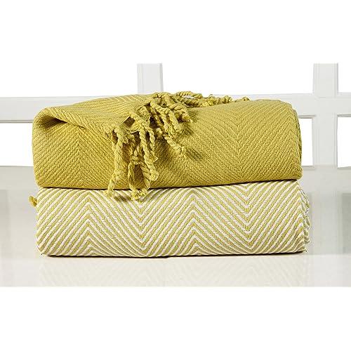 EHC Luxury Pack Of 2 Chevron Cotton Single Sofa Throw Blanket, 125x 150cms  Yellow