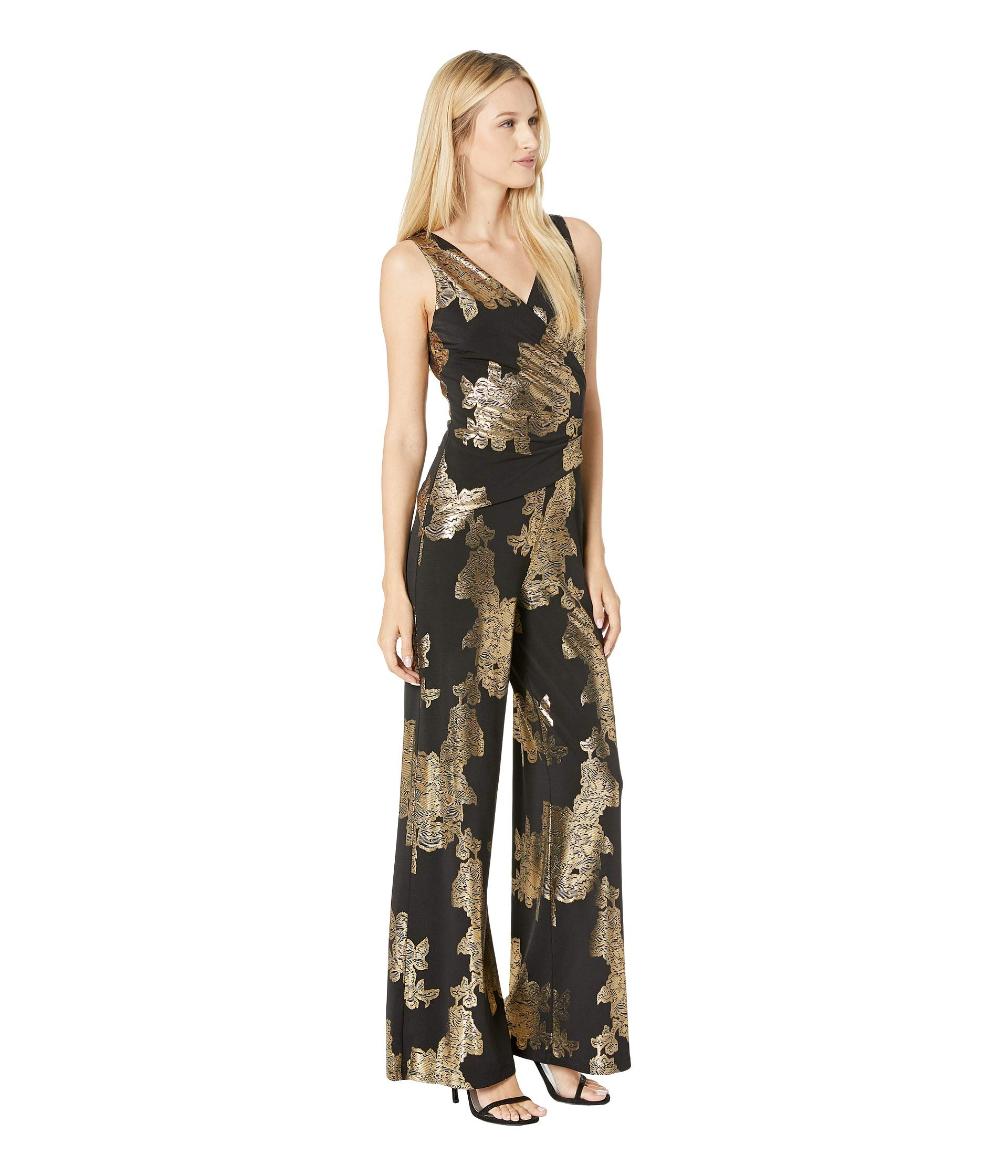 Rose Nine Surplus Black Printed W West amp; Sleeveless Asymmetrical gold Foil Jumpsuit Ity Detail Bodice xCqfwC