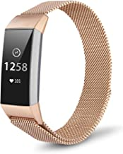 TOMALL Metal Bands Compatible for Fitbit Charge 3,Stainless Steel Metal Replacement Wristband for Women Men