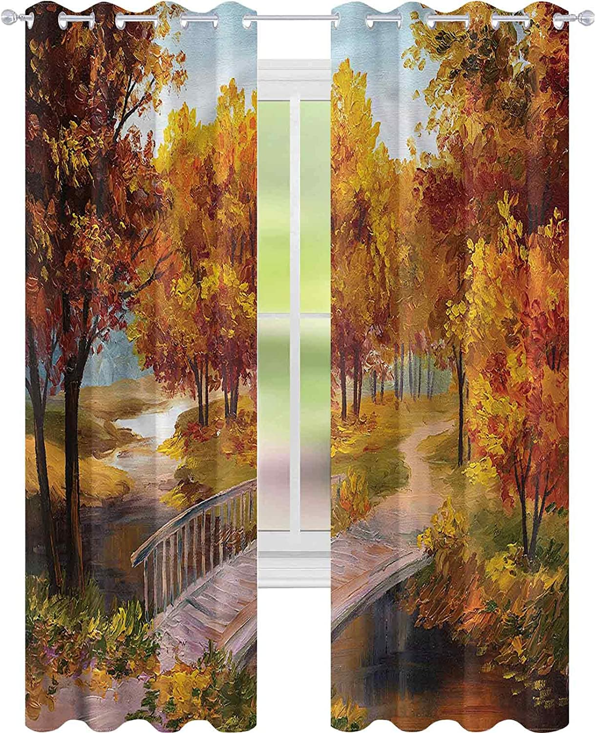 Window Curtain Inventory cleanup selling sale Drape Rustic Autumn Forest Leaves Park L72 W42 x Max 70% OFF
