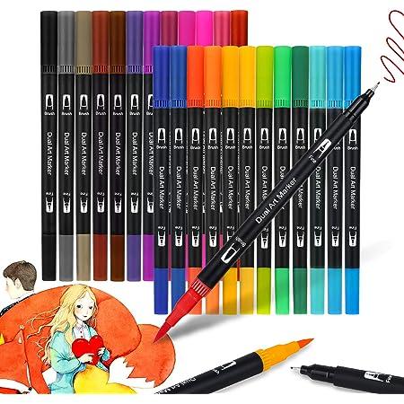 JYUYNY 24 Farbe Filzstifte, Pinselstifte Set Aquarellfarben Pinselstifte,Dual Brush Pens,Pinselstifte mit Zwei Spitzen,Pine Fineliners Filzstifte für Aquarell Erwachsene Mandala Studenten Malbücher
