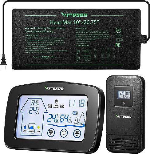 "popular VIVOSUN popular Seedling online sale Heat Mat 10"" x 20.75"" and Black Thermometer Hygrometer outlet sale"