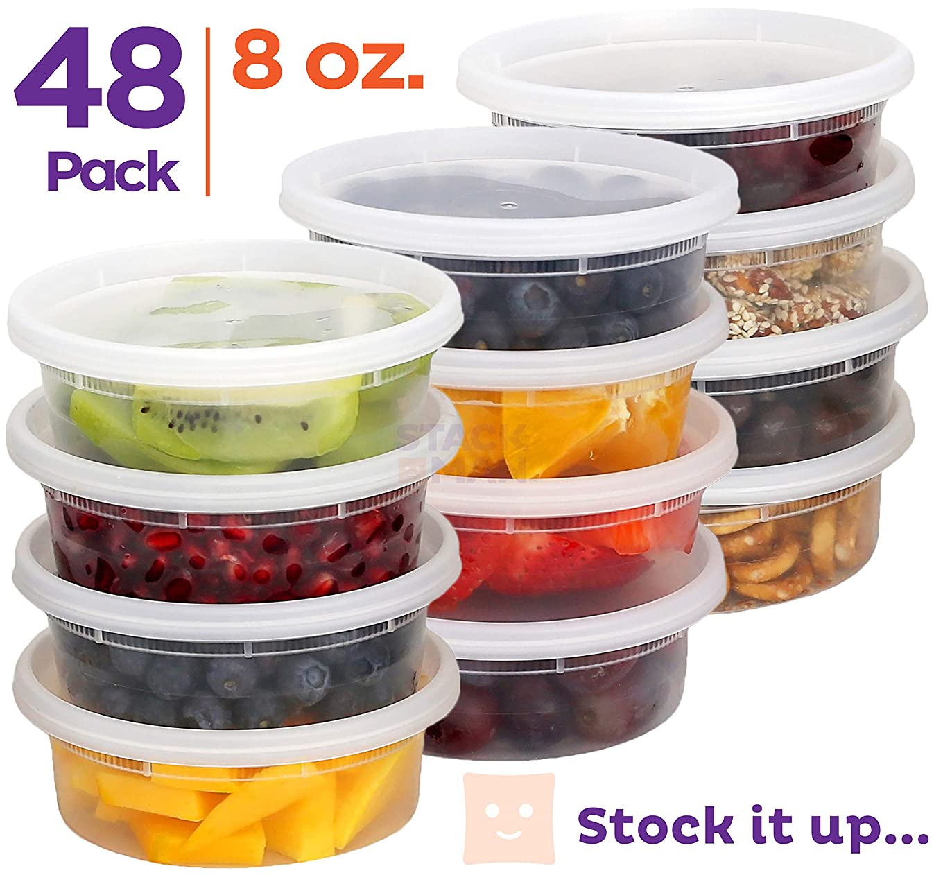 [48 Pack, 8 oz] Plastic Deli Food Storage Soup Containers With Airtight Lids, Freezer Safe | Meal Prep | Stackable | Leakproof | BPA Free