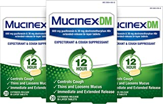 Cough Suppressant and Expectorant, Mucinex DM 12 Hr Relief Tablets, 20ct (Pack of 3)